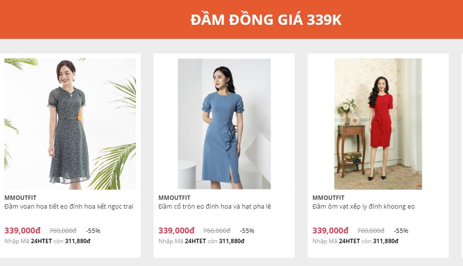 Sản phẩm thời trang YES24 đầm đồng giá 339.000 VNĐ