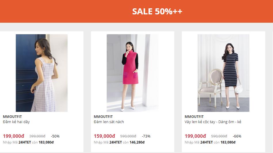 Các sản phẩm giảm giá tới hơn 50%