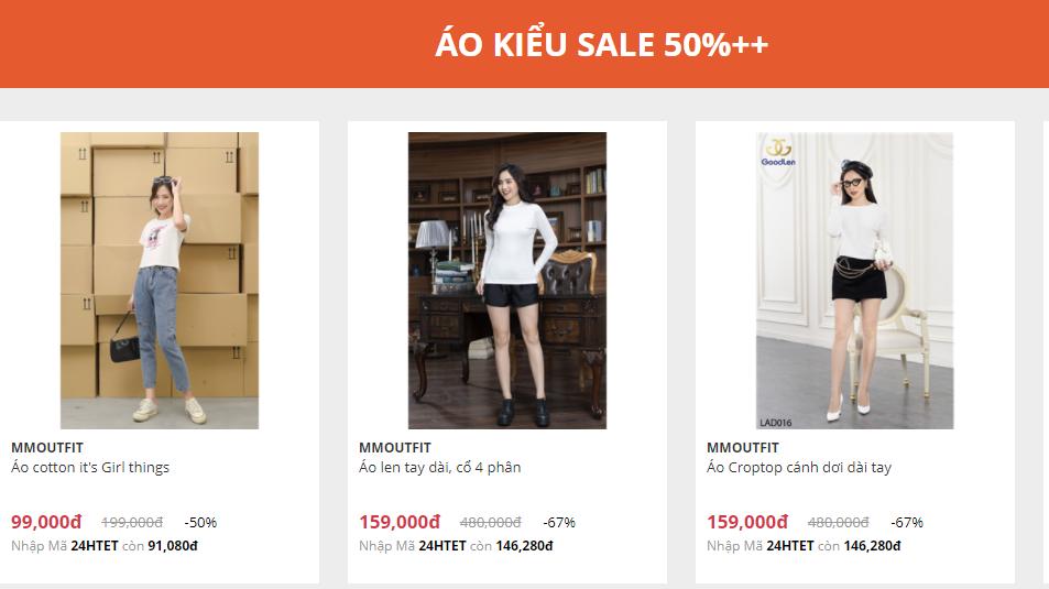 Áo kiểu giảm giá tới hơn 50%