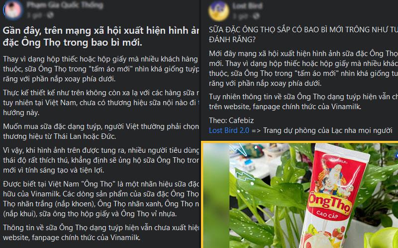 Một số bình luận của cư dân mạng về sữa Ông Thọ dạng tuýp