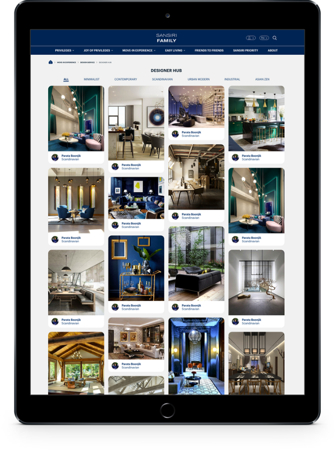 Interior Designers Services Design for Sansiri Family Website Application