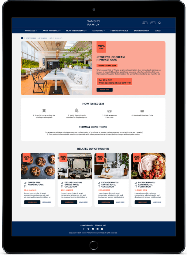 Privilege Details Design for Sansiri Family Website Application