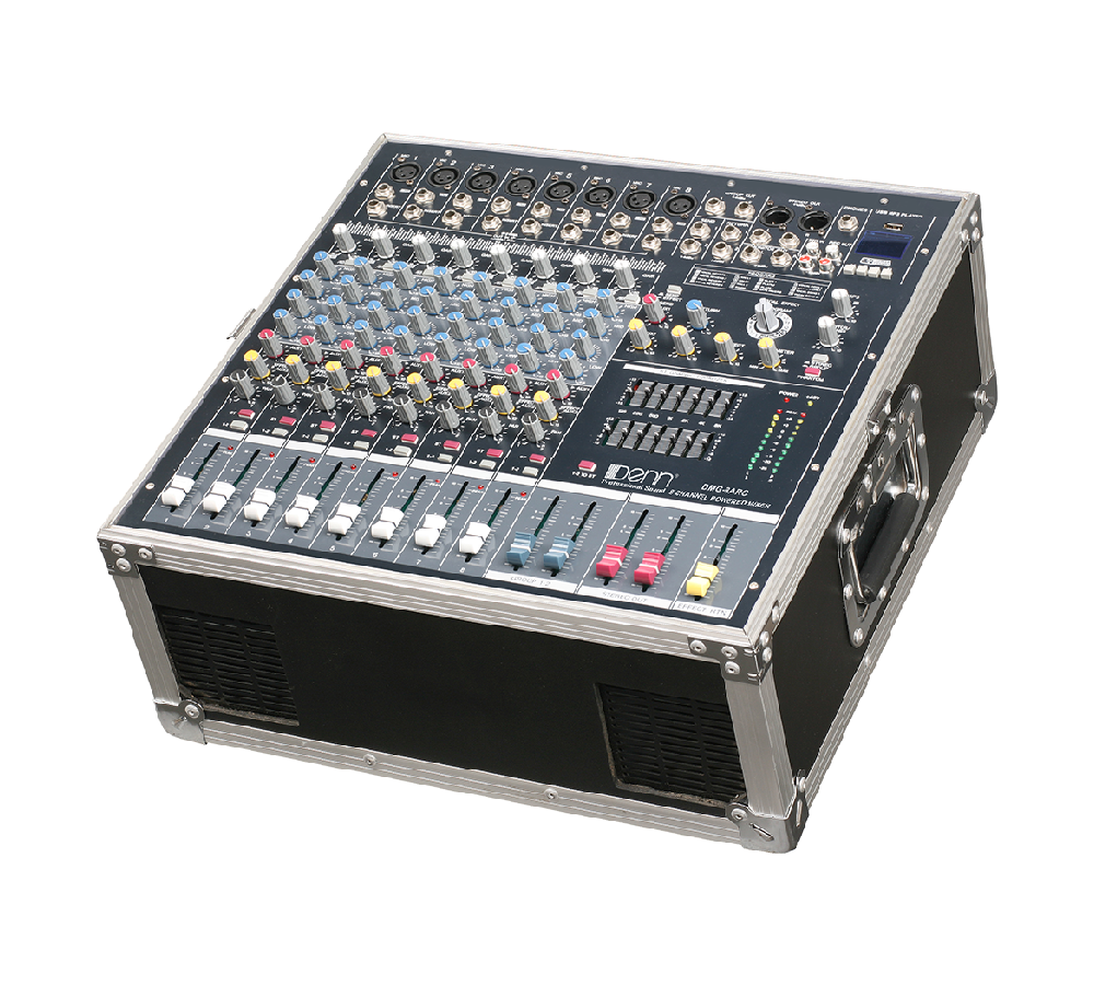 8-Channel Digital Signal Processor (DSP) Powered Mixer (With Flight Case)