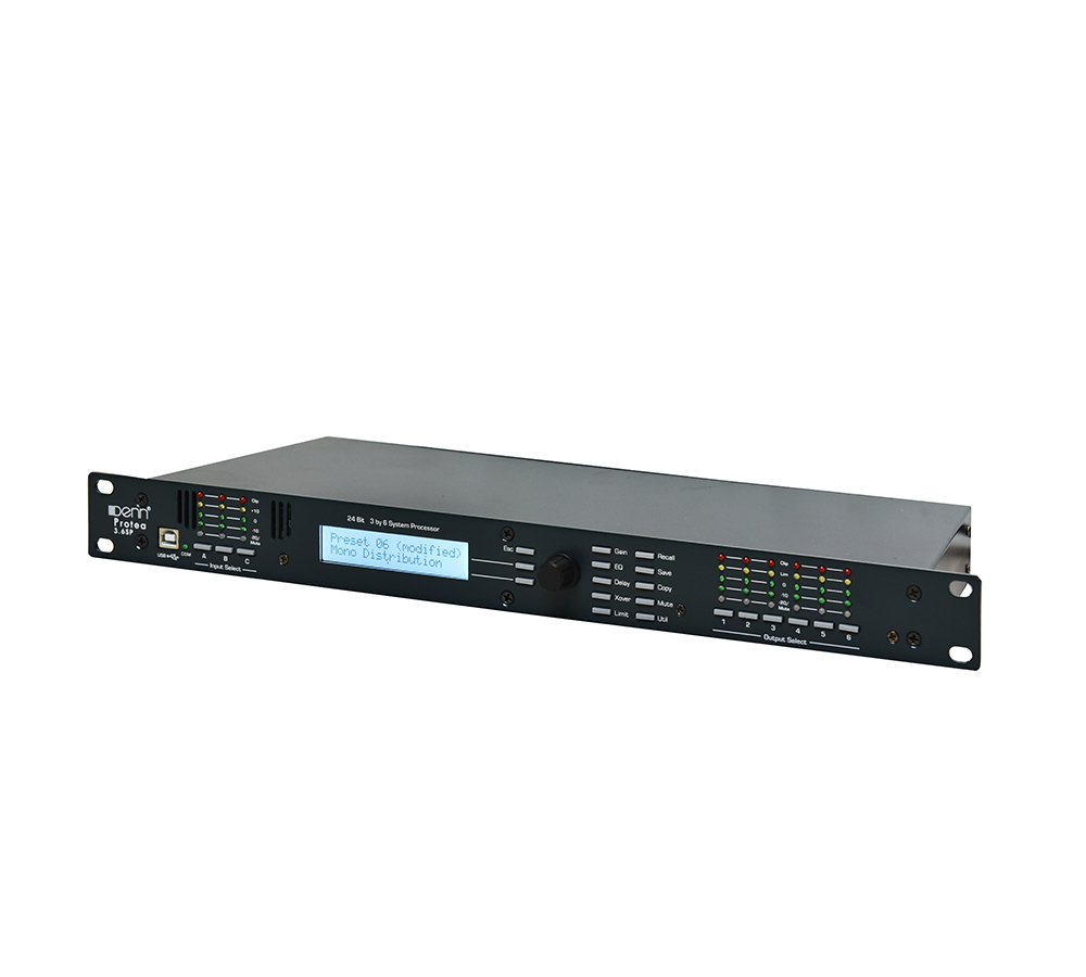 3-Input and 6-Output Digital Signal Processor (DSP) Mixing Pre Amplifier