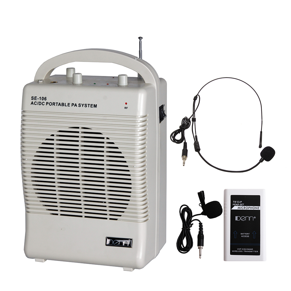 "6"" AC/DC Portable PA System with 1 VHF Wireless Transmitter Mic"