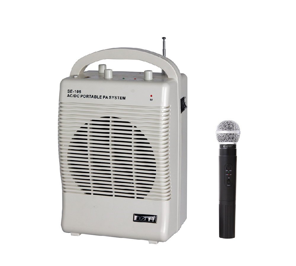 """6"""" AC/DC Portable PA System with 1 VHF Wireless Handheld Mic"""