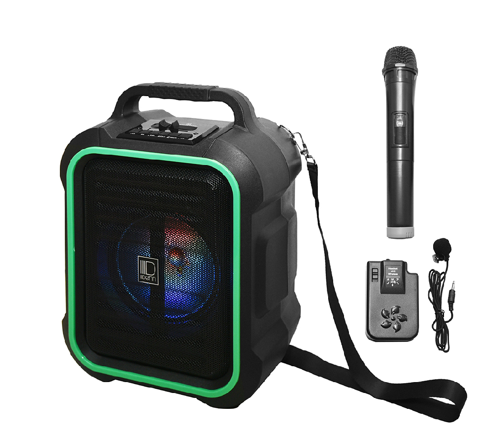 "6.5"" AC/DC Portable PA System with 1 VHF Wireless Handheld and 1 Transmitter Mic"
