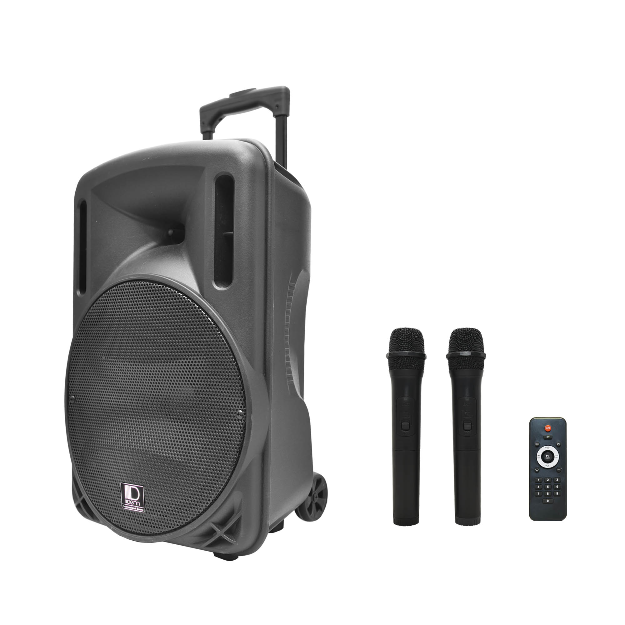 "15"" AC/DC Portable PA System with 1 UHF Wireless Handheld and 1 Transmitter Mic"