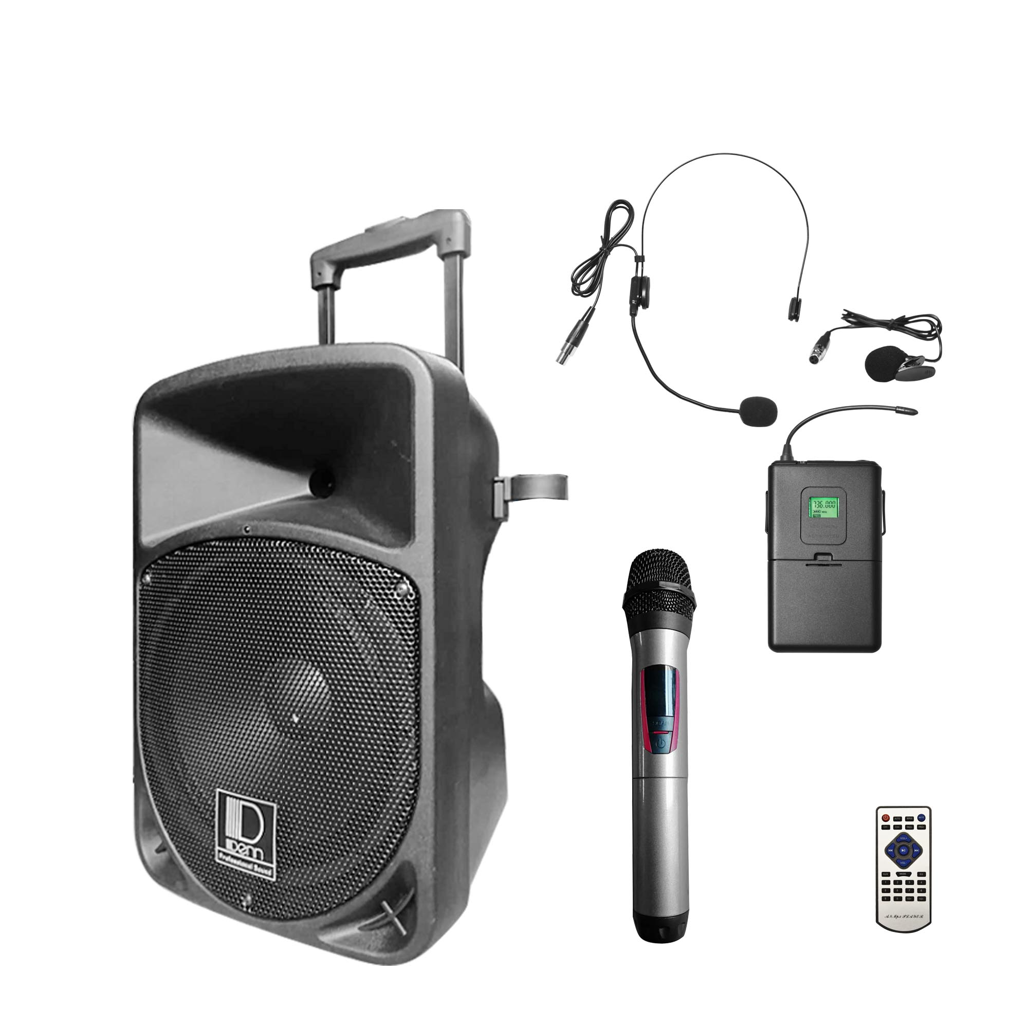 "10"" AC/DC Portable PA System with 1 UHF Wireless Handheld and 1 Transmitter Mic"