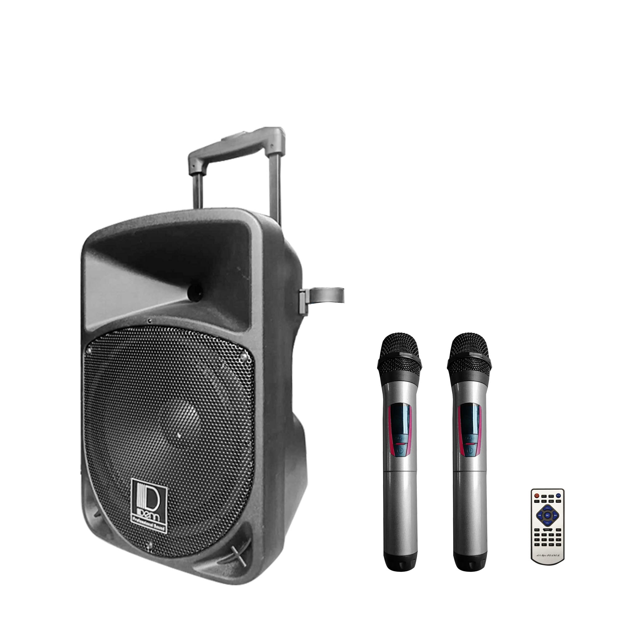 "10"" AC/DC Portable PA System with 2 UHF Wireless Handheld Mic"