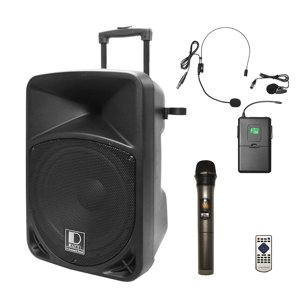 "12"" AC/DC Portable PA System with 1 UHF Wireless Handheld and 1 Transmitter Mic"