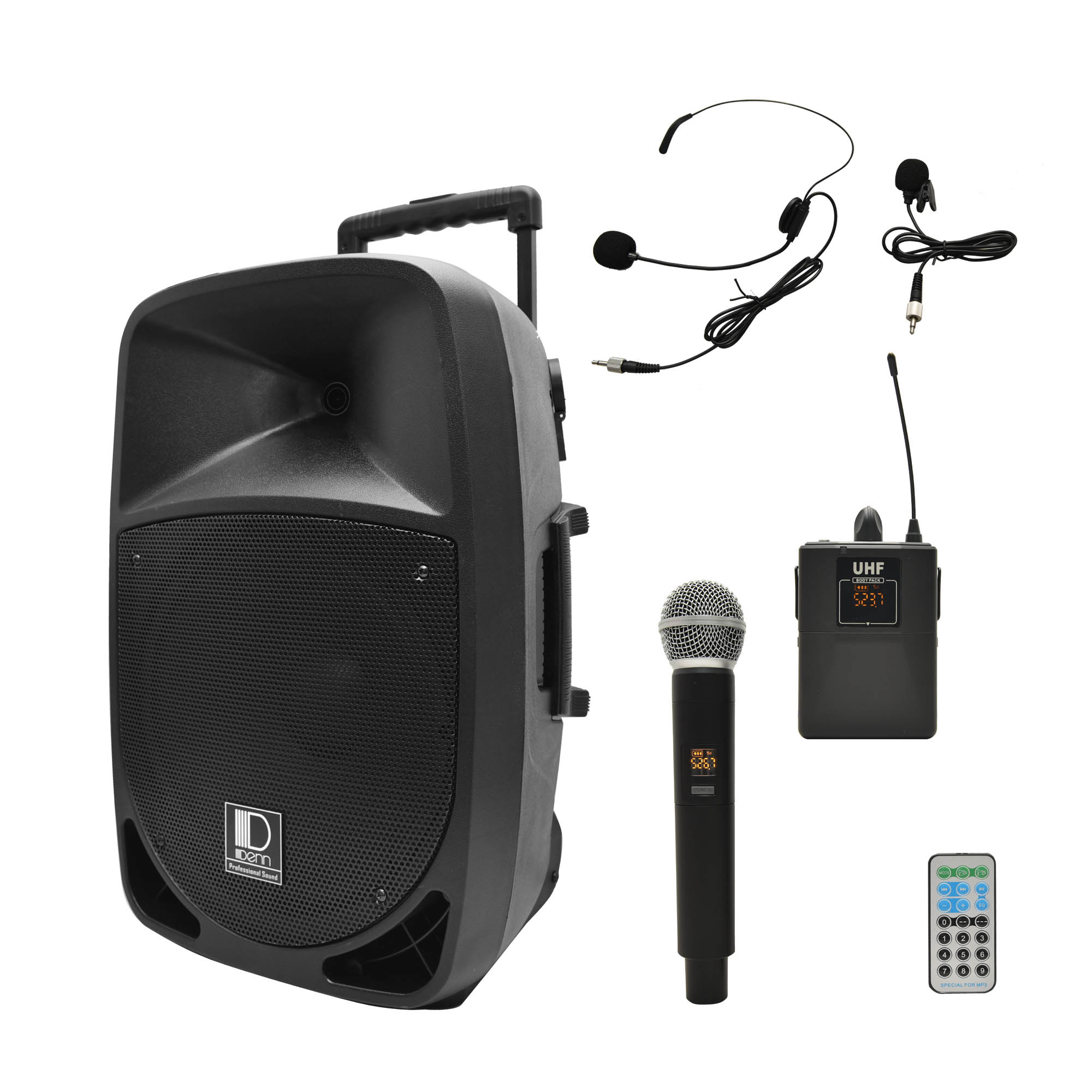 """12"""" AC/DC Portable PA System with 1 UHF Wireless Handheld and 1 Transmitter Mic"""