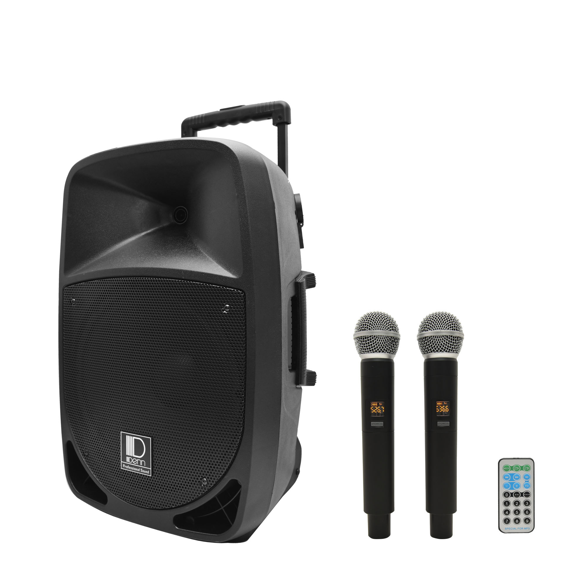 "12"" AC/DC Portable PA System with 2 UHF Wireless Handheld Mic"
