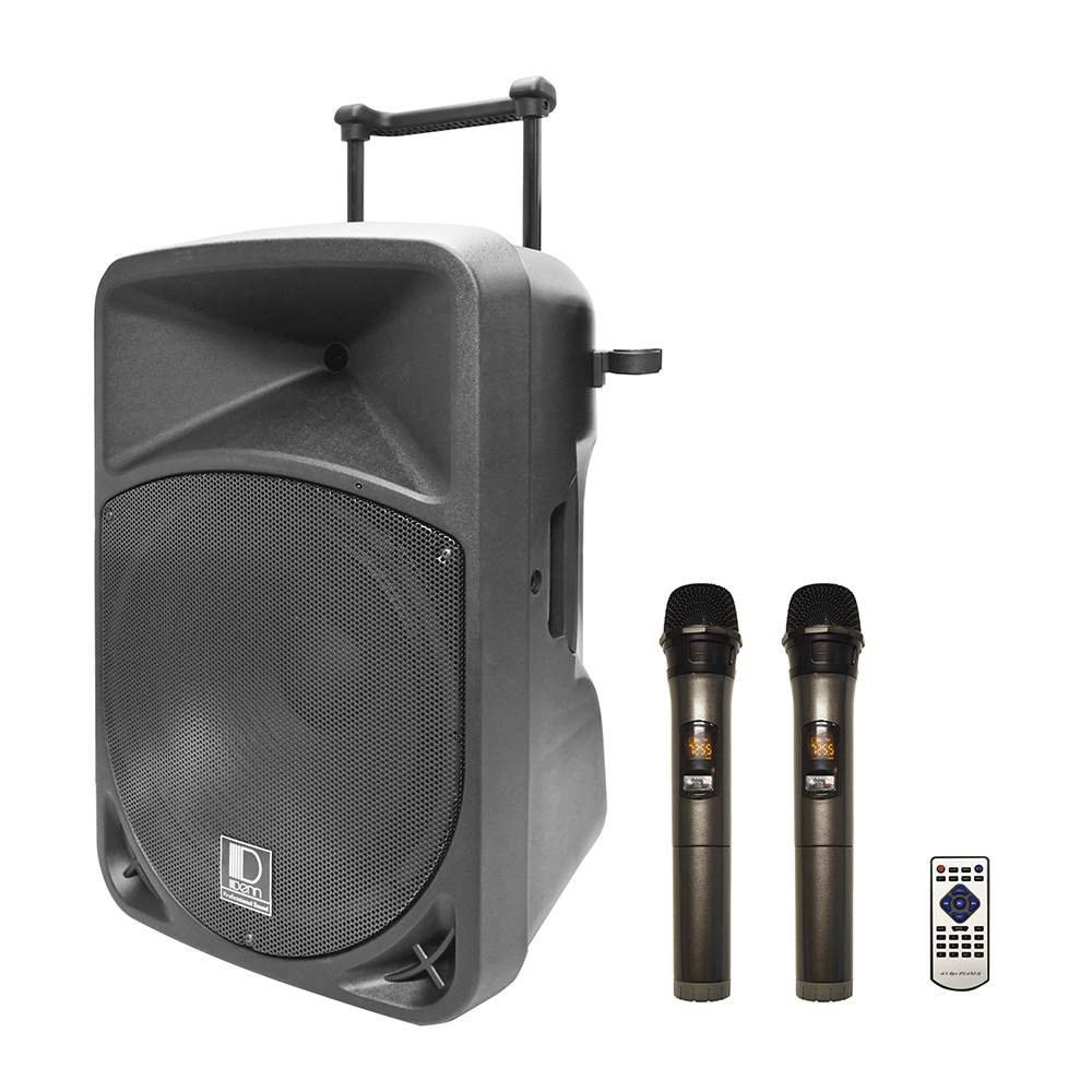 "15"" AC/DC Portable PA System with 2 UHF Wireless Handheld Mic"