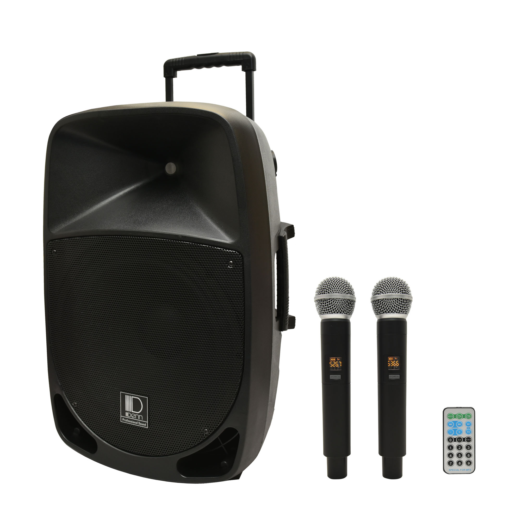 """15"""" AC/DC Portable PA System with 2 UHF Wireless Handheld Mic"""