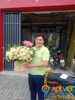 hoa hộp gỗ