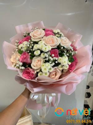 Bó hồng sen & calimero trắng