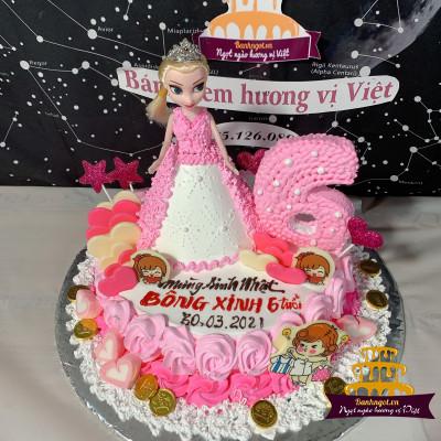 Bánh sinh nhật công chúa Elsa màu hồng