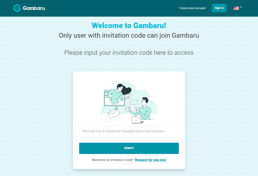 Trang nhập Invitation Code cho người đăng ký trước
