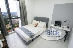 Room Rental in Selangor - *Zero Deposit *Very Nice New Fully Furnished Middle Room With Aircond Lake View at Astetica Residences, Seri Kembangan Next to The Mines Mall
