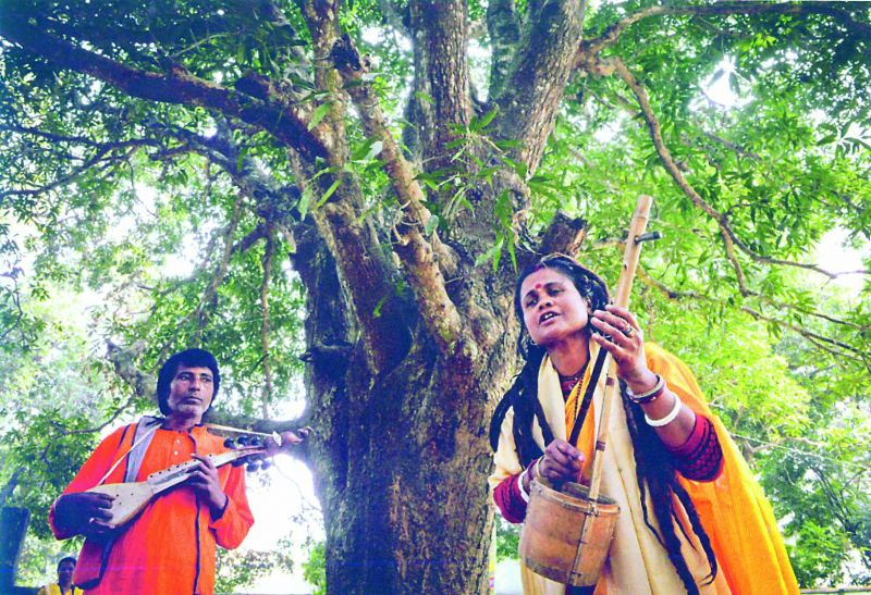 Bauls sing at a gathering in a village in West Bengal
