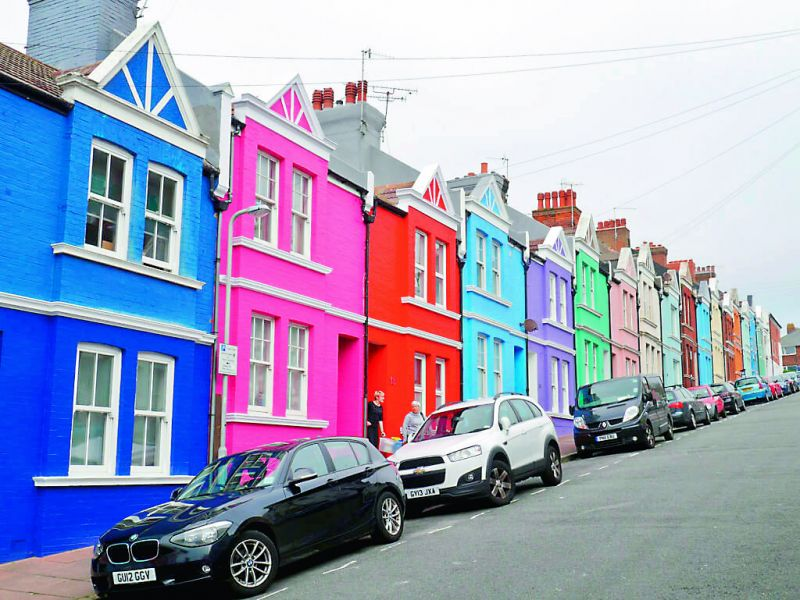 Colourful houses in Brighton