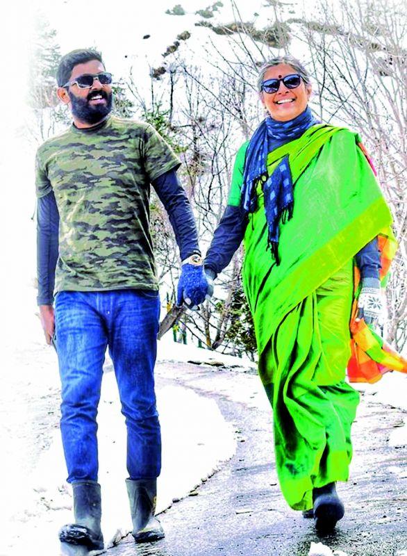 Sarath Krishnan and mother Geetha Ramachandran in Manali.