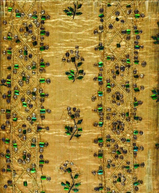 No.270, Gold and beetle wing embroidery, Madras, Vol VII Muslins, Plain and Embrodiered from 'Textile Manufactures of India' by Dr. John Forbes Watson, published by India Office: London. 1860-67.