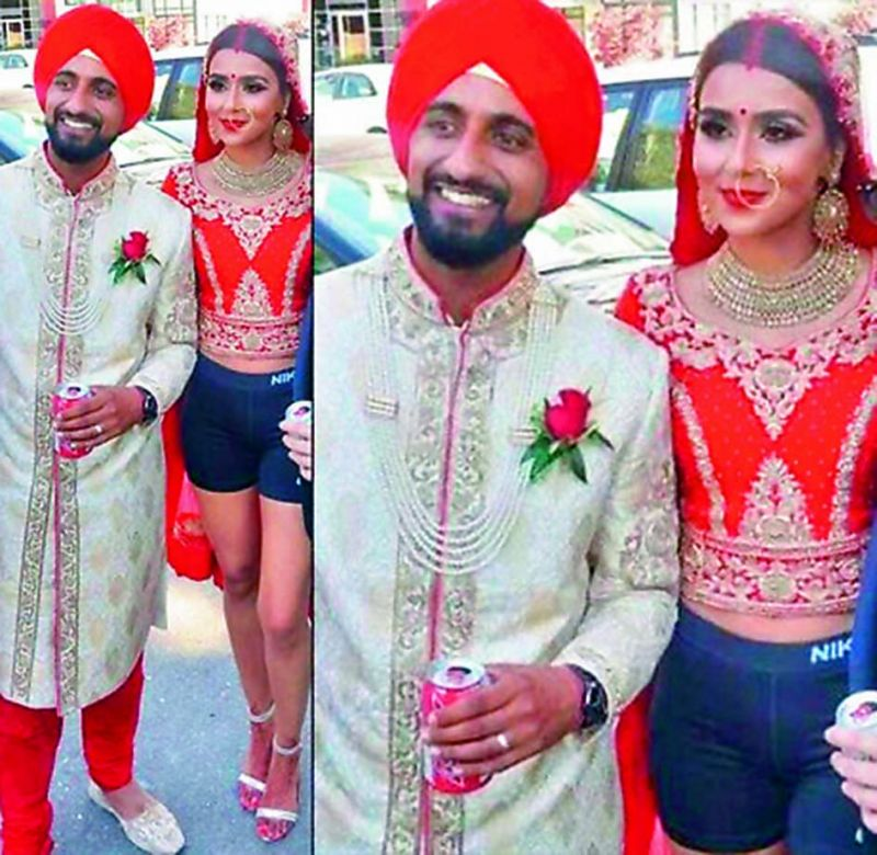 A Sikh bride stepped out dressed in a red choli, dupatta and black boxers