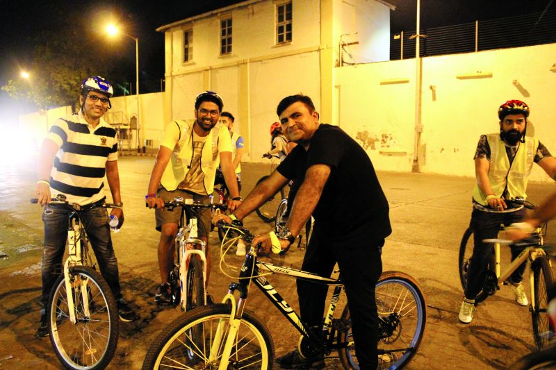 The midnight cycling group on one of their tours