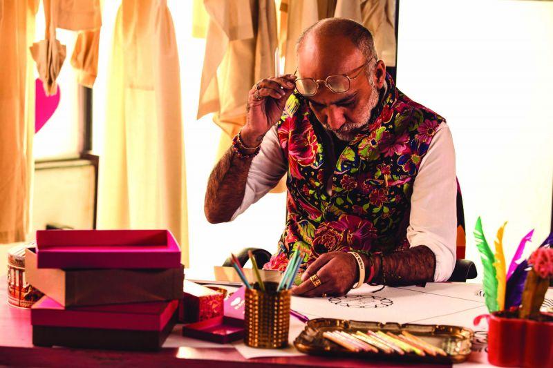 Designer Manish Arora at work in his studio