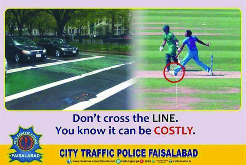 Campaigns by City Traffic Police, Faisalabad used Bumrah's no-ball to spread traffic awareness