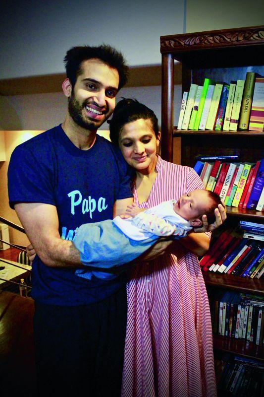 Miniya with her husband and son