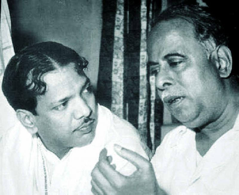 Karunanidhi with C. N. Annadurai