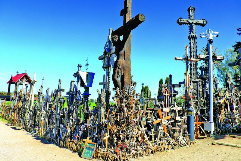 Crosses of various sizes, material and colour are left here in memory of departed souls