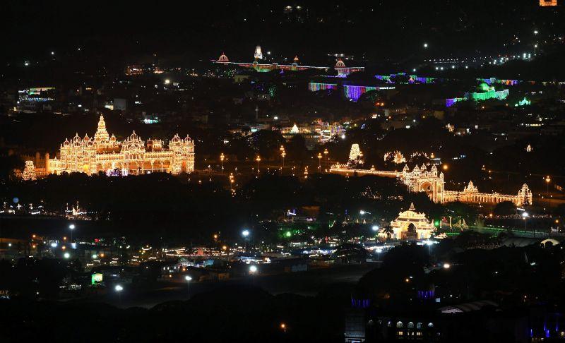 Mysore Palace and the city during Dasara. (Photo: PTI)