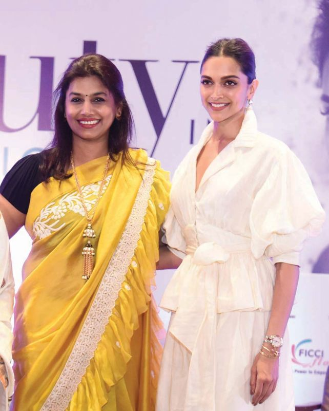 President of FICCI Ladies Organisation Pinky Reddy with Bollywood actor Deepika Padukone. (Photo: Bunny Smith)