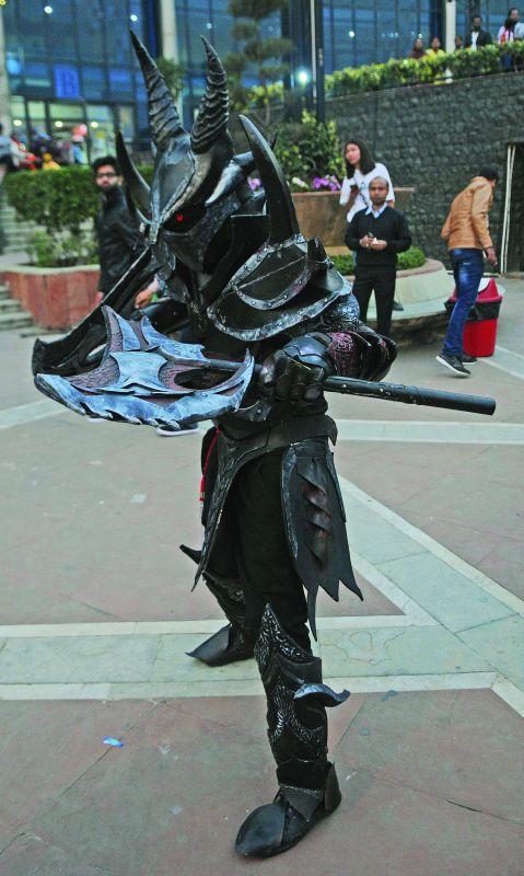 The winner of the fan contest, Anshul Gupta dressed as Daedric Warrior