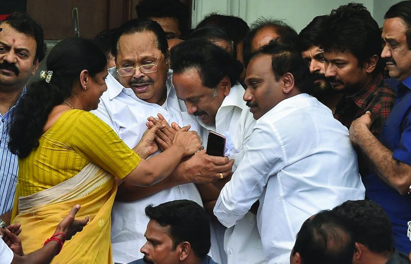 breaks down after the Madras high court's verdict to allow the burial of his father M. Karunanidhi at Marina Beach. Prime Minister Narendra Modi