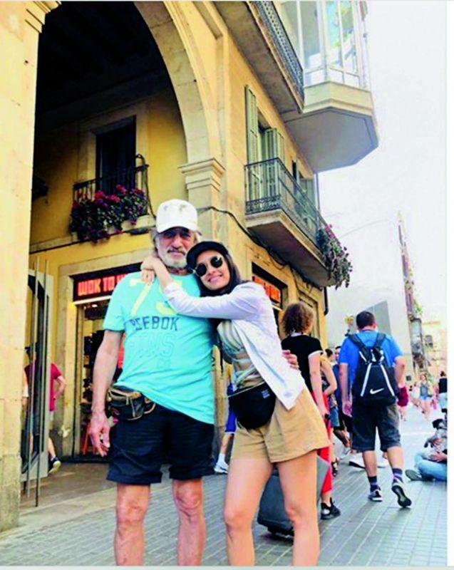 Shraddha Kapoor with dad Shakti Kapoor in Spain