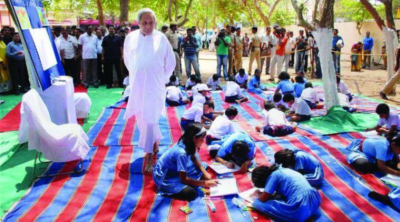 CM Naveen Patnaik interacts with kids.