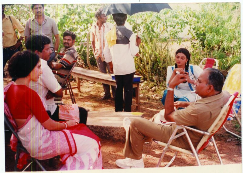 A still from the making of Swarna Kamalam