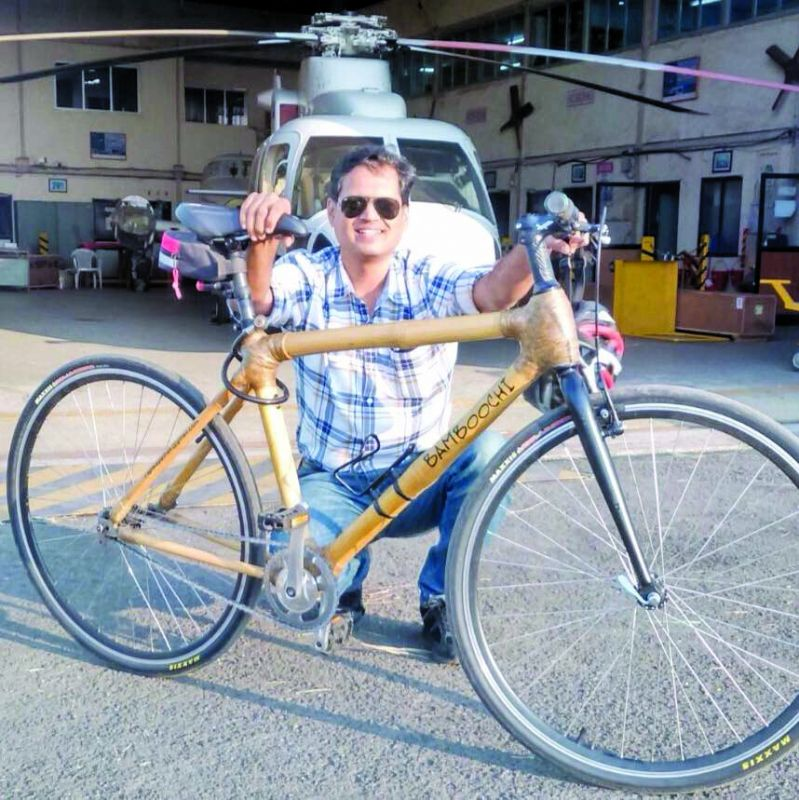 Capt. Pathak with one of his bamboo bikes