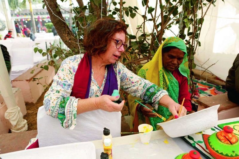 Papier mache artist Vered Otmy with Sundari Bai.