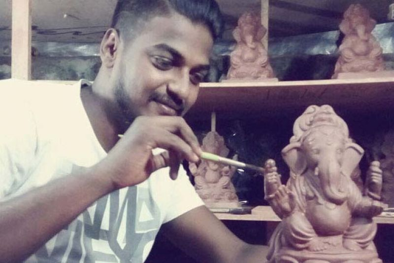 Dattadri Kothur giving final touch to the Tree Ganesha