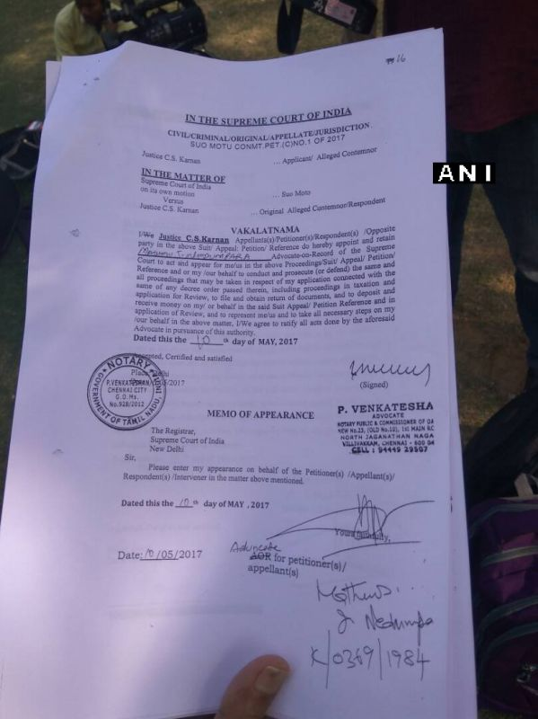 Counsel Mathews J Nedumpara's authorization letter signed by Justice Karnan. (Photo: ANI Twitter)