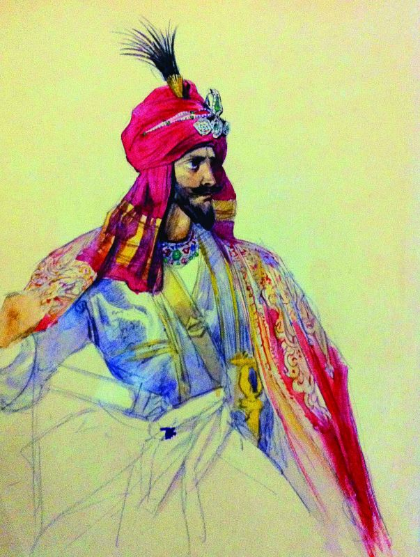 A portrait of a Sikh Noble by Prince Soltykoff