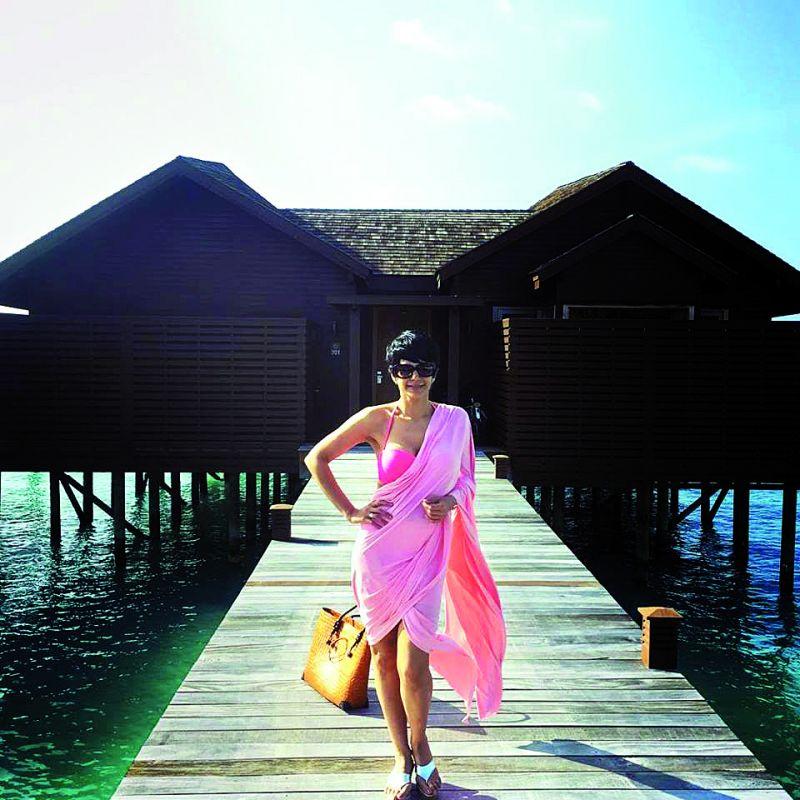 Mandira Bedi in a beachwear saree
