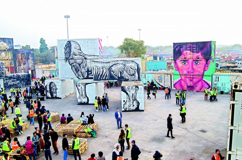 'Container Project' by St+art India Foundation, held at the Inland Container Depot in Okhla