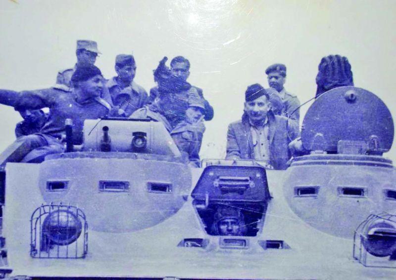 Gen. Sam Manekshaw on a tank in the Western Theatre in the 1971 war.